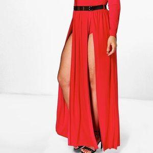 boohoo Plus Karina Plunge Split Maxi Dress